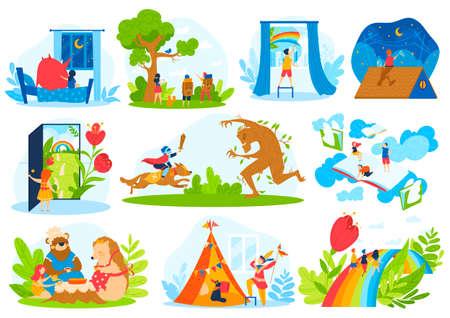 Kids fairy tale imagination vector illustration set, cartoon flat dream magic collection with children fantasy magic life Illustration