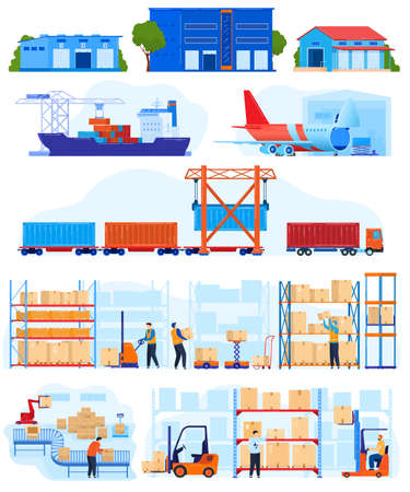 Warehouse logistic service vector illustration set, cartoon flat warehousing delivery collection with forklift, storage buildings