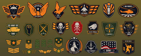 Army military badge vector illustration set, cartoon flat militarism items collection with American soldier chevrons, patches
