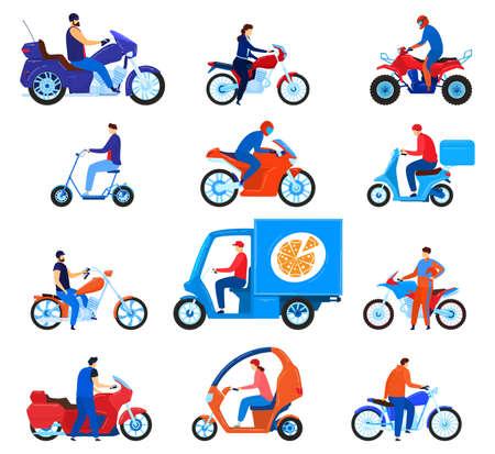 City transport motorbikes vector illustration set, cartoon flat driver characters on bikes, riders driving motorcycle, scooter Illustration