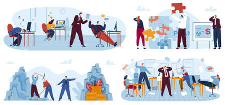 Lazy business office workers vector illustration set, cartoon flat bad employees people relax and procrastinate at workplace
