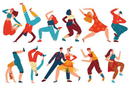 People dance vector illustration set, cartoon flat woman man dancer characters collection with teenagers dancing hip hop, twerk Illustration