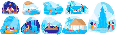 Natural spa resorts vector illustration set, cartoon flat hot springs collection with people tourists enjoy nature spa tourism Illustration