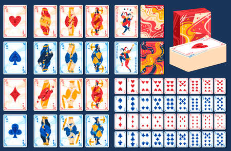 Playing gaming cards vector illustration set, cartoon flat poker game full deck of cards collection for gambling casino club