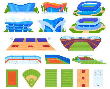 Sports stadium vector illustration set, cartoon flat indoor or outdoor arena field for sportsman people, stadium buildings