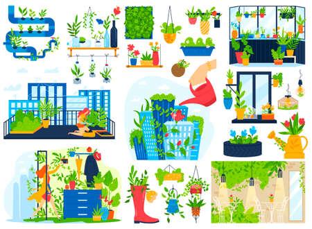 Flowers plants grow in house balcony garden vector illustration set, cartoon flat urban home gardening collection of greenery