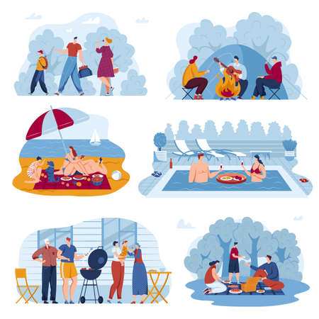 Picnic summer activity vector illustration set, cartoon flat active friend, family or couple characters eat food on nature outdoor