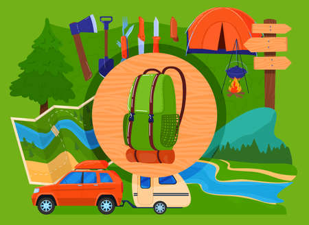 Outdoor eco tourism, camping vacation concept vector illustration, cartoon flat big travel backpack, campfire base camp gear