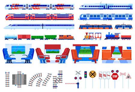 Train railway transportation vector illustration set, cartoon flat railroad travel transport collection isolated on white Illustration