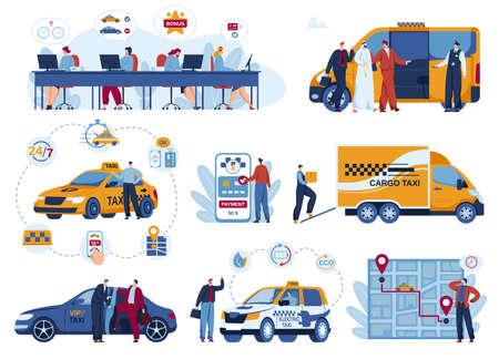 Taxi car delivery app vector illustration set, cartoon flat delivering mobile transport service application isolated on white Illustration