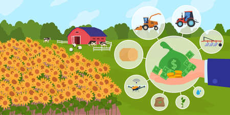 Finance support for agriculture business vector illustration, cartoon flat businessman hand financing agribusiness technology