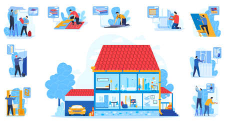 House design vector illustration, cartoon flat house cutaway with modern household room interior, designer constructor people