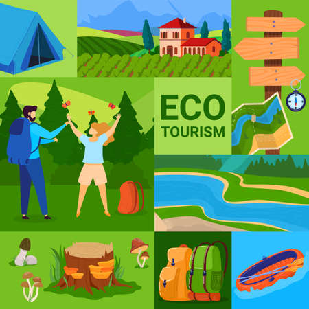 Ecotourism concept vector illustration, cartoon flat green summer tourism poster with eco travel to forest or river, backpack Illustration
