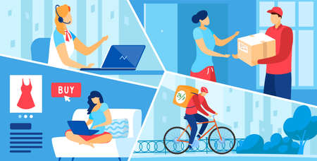 Parcel delivery post service vector illustration, cartoon flat buyer ordering goods in online store, courier delivering order box