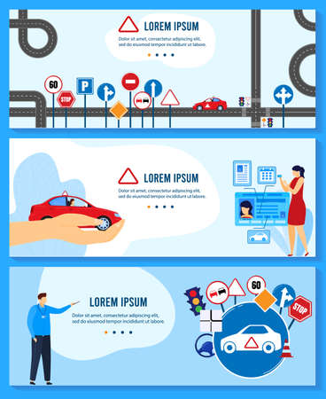 Driving auto school education vector illustrations, cartoon flat teacher instructor character teaching rules and traffic signs Illustration