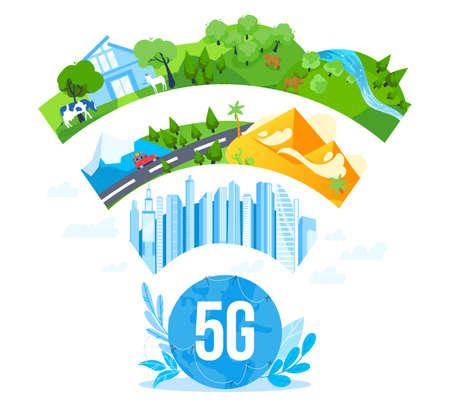 5G internet networking communication vector illustration, cartoon flat 5g network logo under modern city, farm nature landscape Illustration