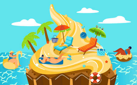 Candy sweets dream beach island vector illustration, cartoon flat fantasy travel poster background with woman characters in bikini Illustration