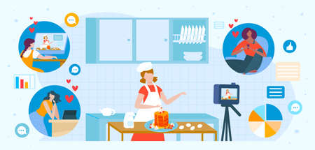 Children cook online for tv show vector illustration, cartoon flat child character cooking pancakes in kitchen background