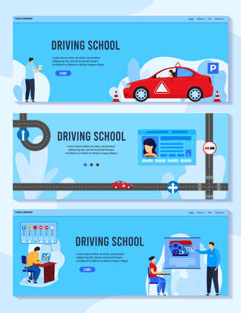Driving auto school vector illustrations, cartoon flat student man woman character studying schooling, learning rules to drive car