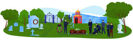 Funeral cemetery ceremony vector illustration, cartoon flat funerary ceremonial group of people standing near coffin in graveyard