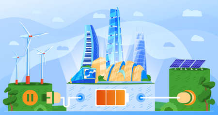 Modern city eco green energy technology concept vector illustration, alternative sustainable ecology resources background Illustration