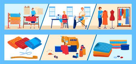 Textile industry vector illustration set, cartoon flat professional dressmaker seamstress working, dressmaking, modeling or sewing