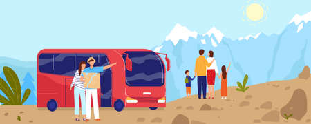 People travel by bus, mountain adventure vector illustration, cartoon flat family tourist characters enjoying nature landscape