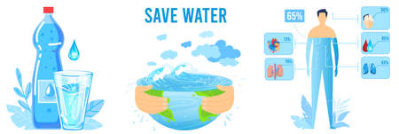 Save water ecology vector illustration set, cartoon flat infographic water function eco concept collection isolated on white Illustration