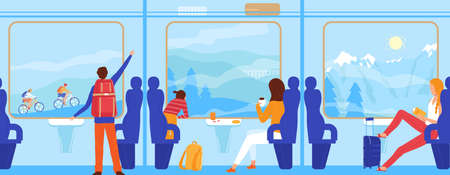 People travel by train, tourism concept vector illustration, cartoon flat passenger tourist character traveling in railway cabin