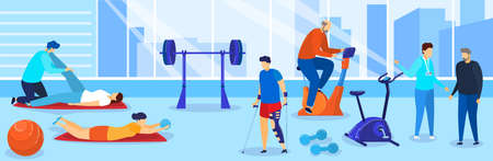 Therapy rehabilitation vector illustration, cartoon flat people with disabilities doing rehab sport exercise in gym background