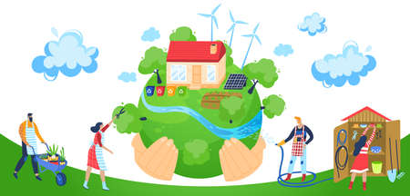 Save planet vector illustration, cartoon flat activist people working for saving ecology, cleaning green globe from pollution