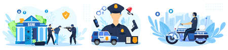 Police work vector illustration set, cartoon flat policeman character working, policeofficer people protect bank from attack