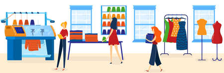 People work in textile industry vector illustration, cartoon flat worker tailor characters working with industrial machinery