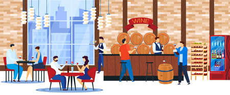 People drink wine vector illustration, cartoon flat man woman characters sitting at tables in restaurant, ordering alcohol wine