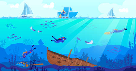 Wreck diving vector illustration, cartoon flat scuba diver characters exploring sea depth with fishes, sunken ship background Ilustracje wektorowe