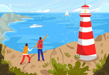 People travel to coastal sea beach landscape vector illustration, cartoon flat characters enjoy natural seascape with lighthouse