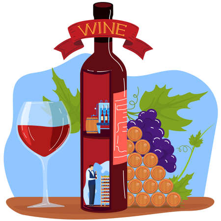 Grape wine product vector illustration, cartoon flat factory producting winemaking process concept with storage production scenes