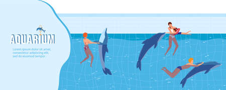 People swim with dolphins vector illustration, cartoon flat swimmer characters playing and swimming with aquatic dolphin animals Çizim