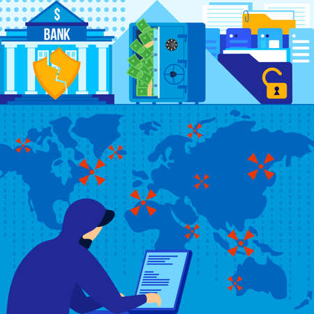 Bank hacking vector illustration, cartoon flat internet hacker attack on banking data online system, breach of cyber protection