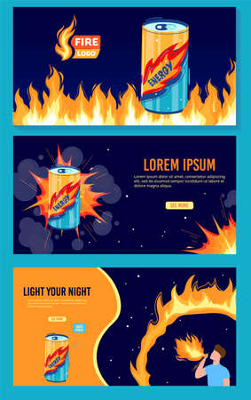 Energy drink flame can vector illustration, cartoon flat energetic drink promotion banner design collection with flaming beverage