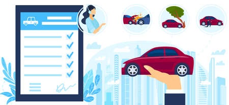 Insurance auto service protection vector illustration, cartoon flat businessman hand holding car, protecting from accidents and crimes