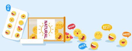 Cute vitamin capsules package vector illustration, cartoon flat kawaii happy natural multivitamin pill characters background Çizim