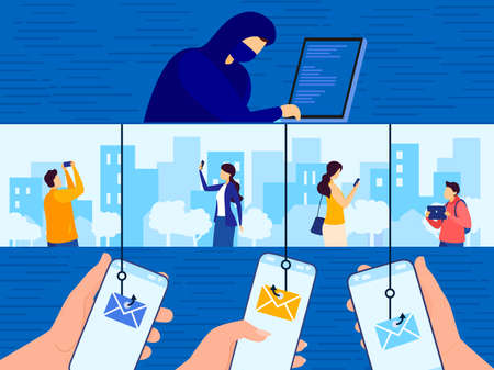 Phishing attack vector illustration, cartoon flat hacker cyber criminal character login into people account concept background