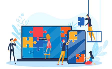 People connect design puzzle vector illustration, cartoon flat designer developer characters team connecting puzzle jigsaw pieces Illustration