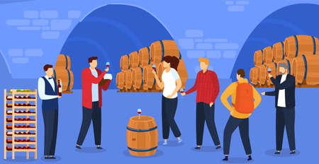 Grape wine degustation vector illustration, cartoon flat people degustate red alcohol drink, drinking alcohol product beverage