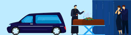 Funeral ceremony vector illustration, cartoon flat priest, sad family people standing next to closed coffin and hearse car