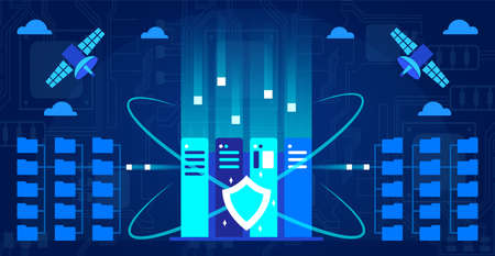 Data center vector illustration, cartoon blue abstract tech modern internet database concept with servers and protective shield