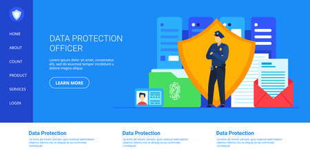 Data protection vector illustration, cartoon cyber security guard, officer character standing with shield for protect database Çizim