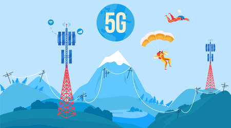 5G antenna tower communication vector illustration, cartoon flat nature mountain landscape with 5G towered station receiver