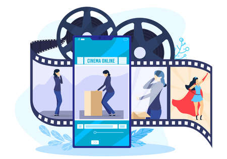 Online cinema concept vector illustration, cartoon flat cinematography art concept with woman character watching movie online